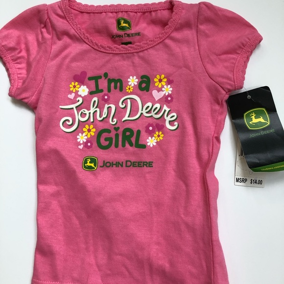 Available in 12 Months-3 Years John Deere Childs Girls Pink T-Shirt